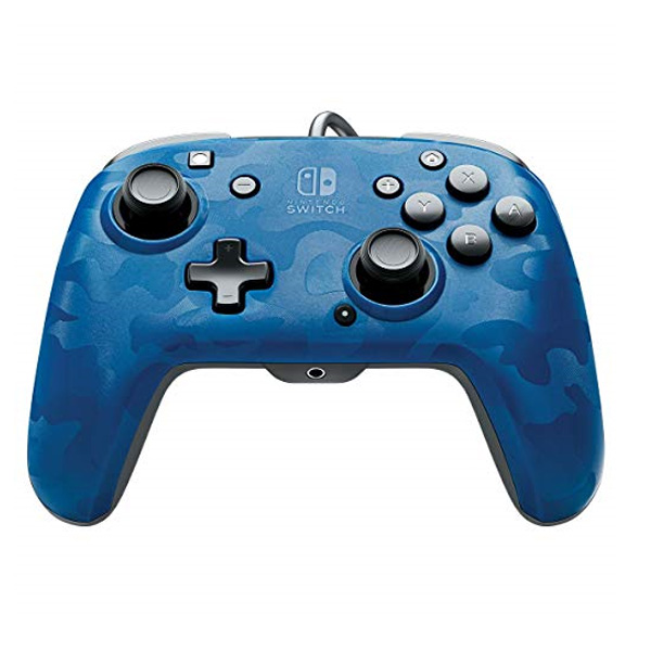 PDP Faceoff Deluxe + Audio Wired Controller for Nintendo Switch, camo blue 500-134-EU-CM02