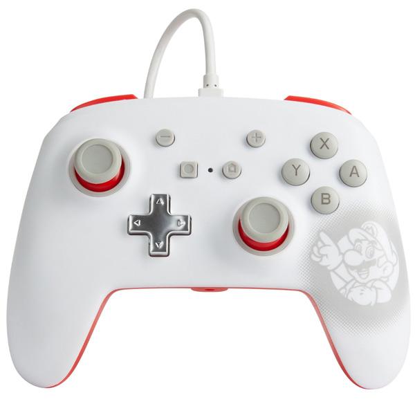 PowerA Enhanced Wired Controller - Mario White for Nintendo Switch