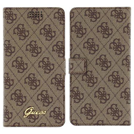 Puzdro Guess 4G Book pre váš smartfón XL, Brown