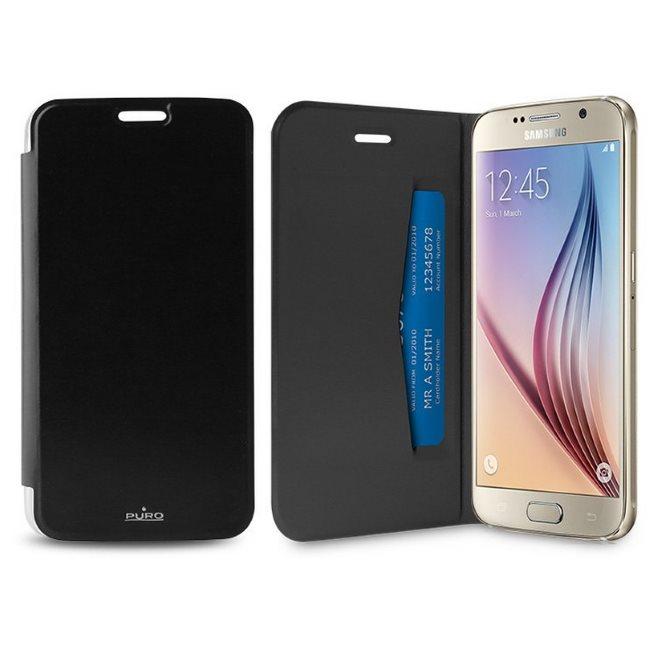 Puzdro knižkové Puro Wallet Case pre Samsung Galaxy S6 - G920F, Black