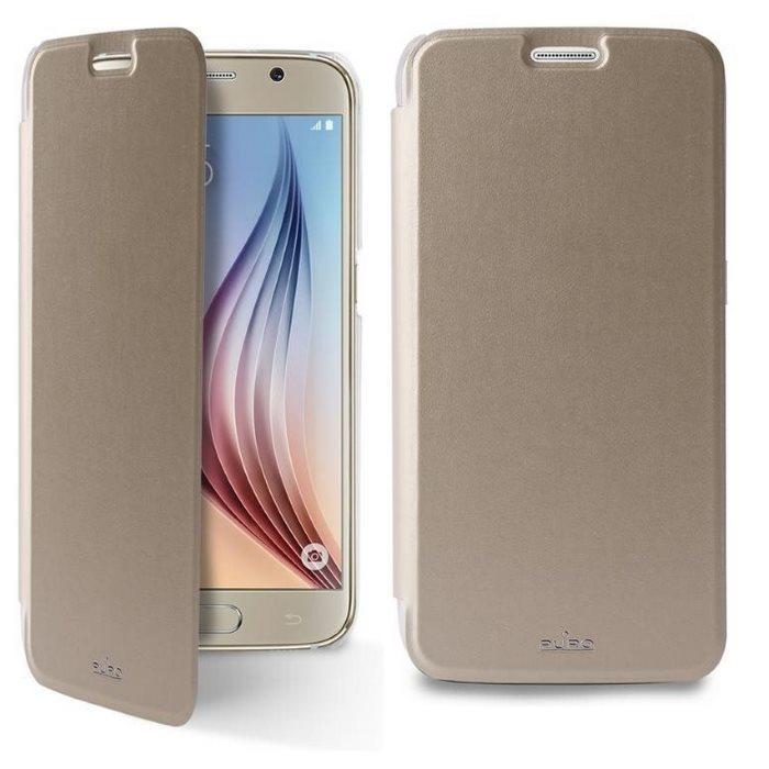 Puzdro knižkové Puro Wallet Case pre Samsung Galaxy S6 - G920F, Gold