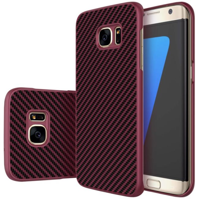 Puzdro Nillkin Synthetic Fiber pre Samsung Galaxy S7 Edge - G935F, Wine Red Carbon