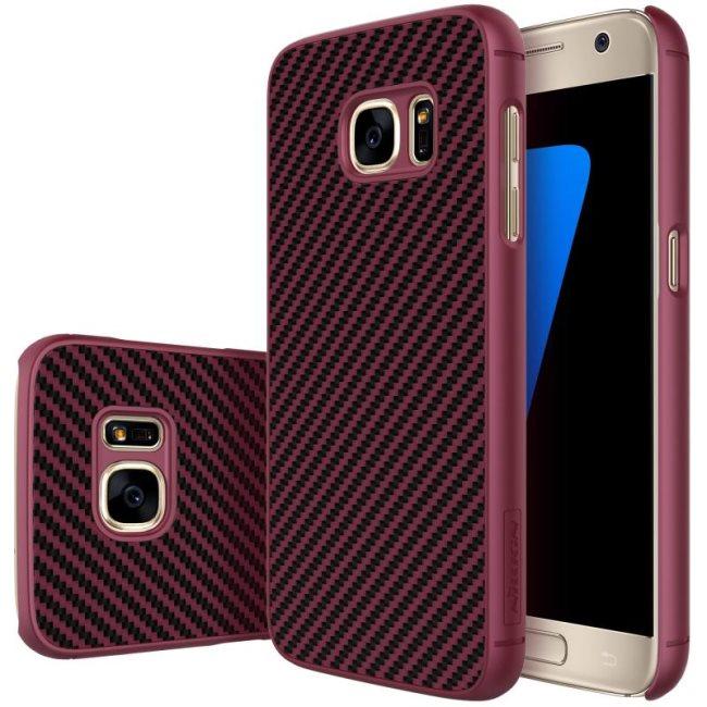 Puzdro Nillkin Synthetic Fiber pre Samsung Galaxy S7 - G930F, Wine Red Carbon