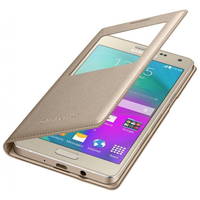 Puzdro Samsung S-View EF-CA500B pre Samsung Galaxy A5 - A500F, Gold