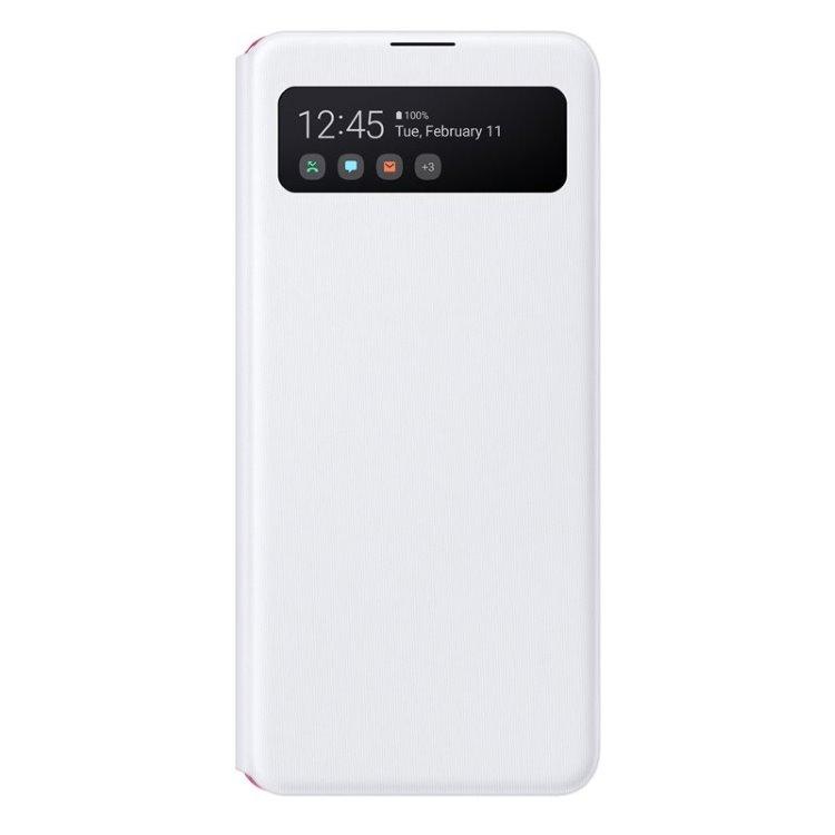 Puzdro Samsung S-View Wallet Cover EF-EA41PWE pre Samsung Galaxy A41 - A415F, White EF-EA415PWEGEU