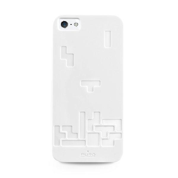 Puzdro silikonové PURO pre Apple iPhone 5 a Apple iPhone 5S, Tetris White
