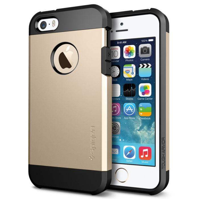 Puzdro Spigen Tough Armor pre Apple iPhone 5, 5S a SE, Champagne Gold 041CS20252