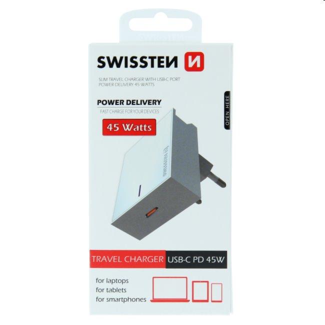 Rýchlonabíjačka Swissten Power Delivery 3.0 pre Apple s USB-C, 45W, biela