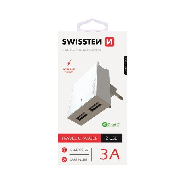 Rýchlonabíjačka Swissten Smart IC 3.A s 2 USB konektormi, biela