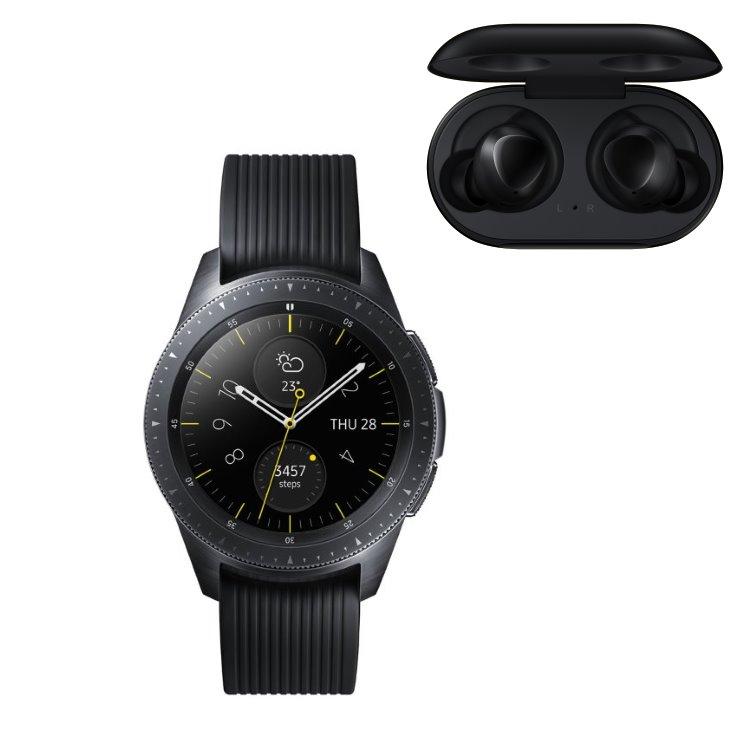 Samsung Galaxy Watch, Black + Samsung Galaxy Buds, Black R810 + R170 bundle