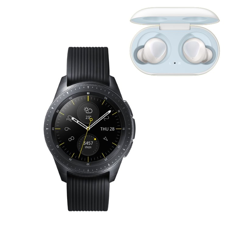 Samsung Galaxy Watch, Black + Samsung Galaxy Buds, White R810 + R170 bundle
