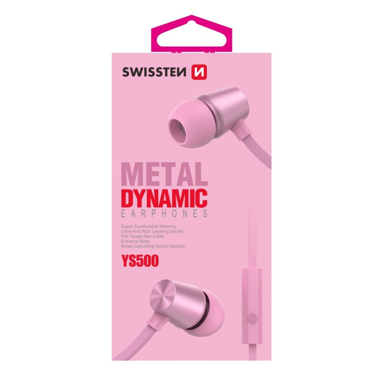Slúchadlá Swissten Dynamic YS500, ružové