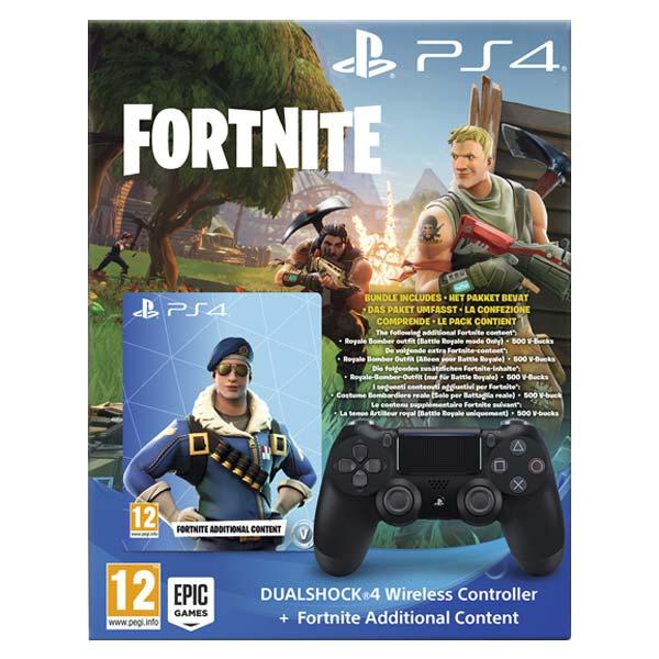 Sony DualShock 4 Wireless Controller v2, jet black + bonusový obsah do hry Fortnite