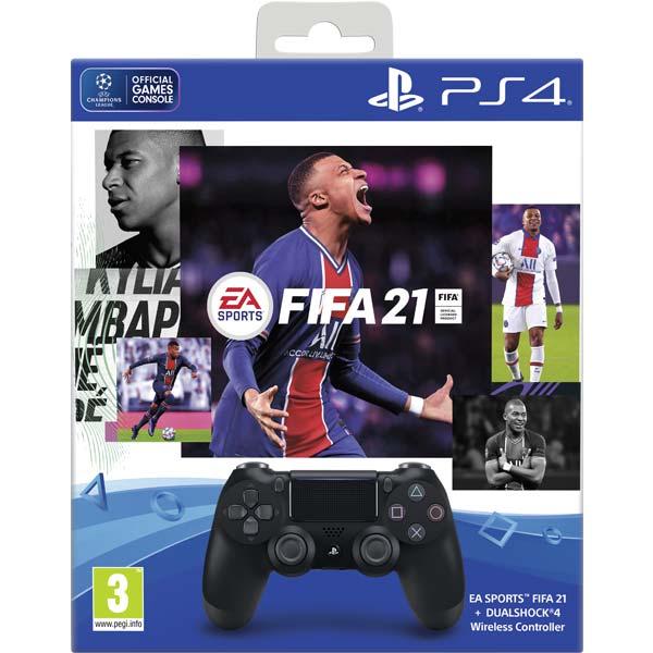 Sony DualShock 4 Wireless Controller v2, jet black + FIFA 21 CZ