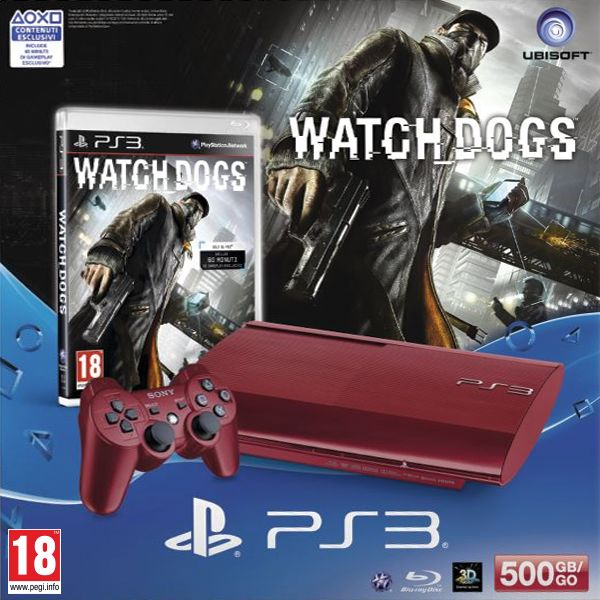 Sony PlayStation 3 500GB, garnet red + Watch_Dogs CZ
