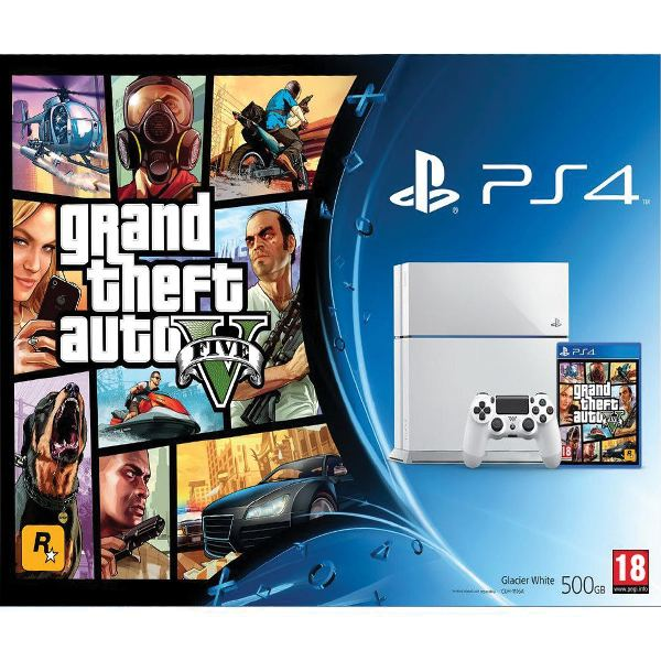Sony PlayStation 4 500GB, glacier white + Grand Theft Auto 5