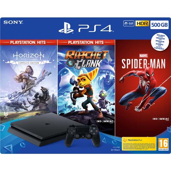 Sony PlayStation 4 Slim 500GB, jet black + Horizon: Zero Dawn (Complete Edition) + Ratchet & Clank + Spider-Man CZ