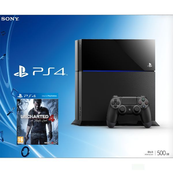 Sony PlayStation 4 500GB, jet black + Uncharted 4: A Thief�s End CZ