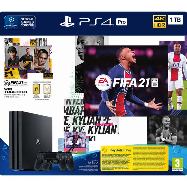 Sony PlayStation 4 Pro 1 TB, jet black + FIFA 21 CZ + DualShock 4 Wireless Controller v2, jet black + PS Plus 14 dní