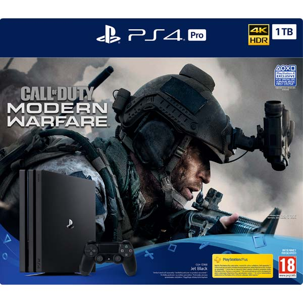 Sony PlayStation 4 Pro 1TB, jet black + Call of Duty: Modern Warfare