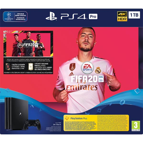 Sony PlayStation 4 Pro 1TB, jet black + FIFA 20 CZ + PS Plus 14 dní