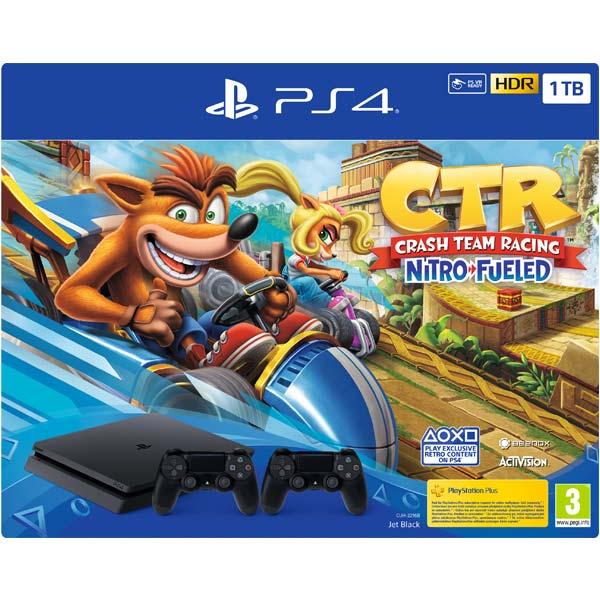 Sony PlayStation 4 Slim 1TB, jet black + Crash Team Racing + Sony DualShock 4 Wireless Controller v2, jet black