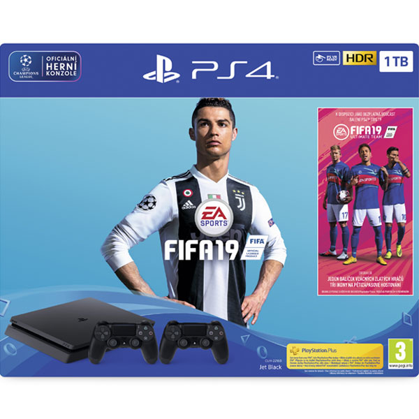 Sony PlayStation 4 Slim 1TB, jet black + FIFA 19 CZ + DualShock 4 Wireless Controller v2, jet black