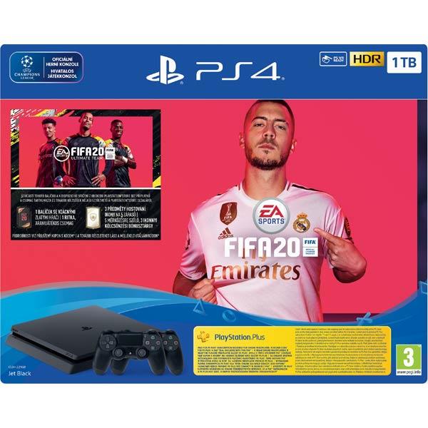 Sony PlayStation 4 Slim 1TB, jet black + FIFA 20 CZ + DualShock 4 Wireless Controller v2, jet black + PS Plus 14 dní
