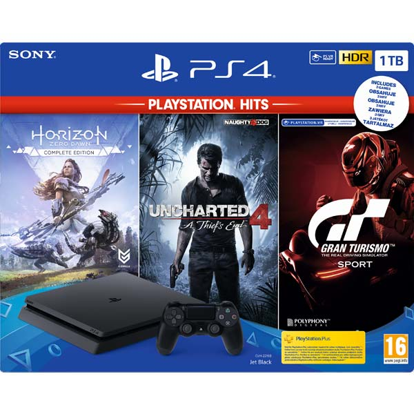Sony PlayStation 4 Slim 1TB, jet black + Gran Turismo Sport CZ + Uncharted 4: A Thief's End CZ + Horizon: Zero Dawn