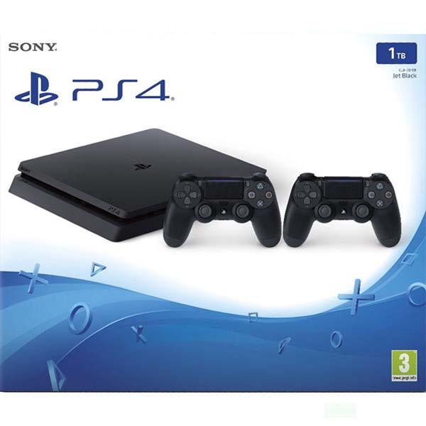 Sony PlayStation 4 Slim 1TB, jet black + Sony DualShock 4 Wireless Controller v2, jet black