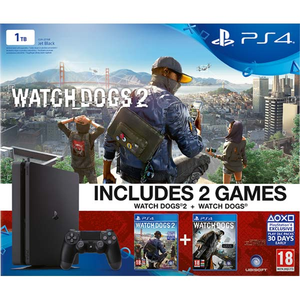 Sony PlayStation 4 Slim 1TB, jet black + Watch_Dogs a Watch_Dogs 2