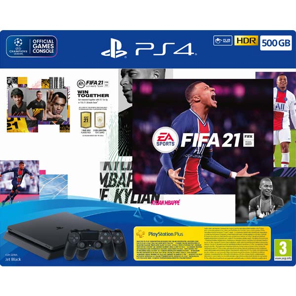 Sony PlayStation 4 Slim 500 GB, jet black + FIFA 21 CZ + DualShock 4 Wireless Controller v2, jet black + PS Plus 14 dní