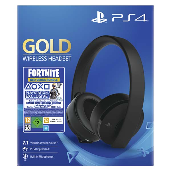 Sony PlayStation Gold Wireless 7.1 Headset, black (Fortnite 2000 V Bucks Neo Versa Bundle)