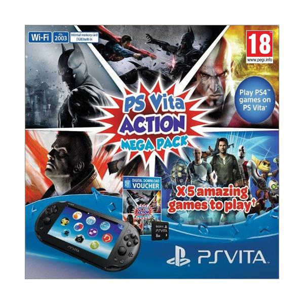 Sony PlayStation Vita Action Mega Pack + Sony Playstation Vita Memory Card 8GB