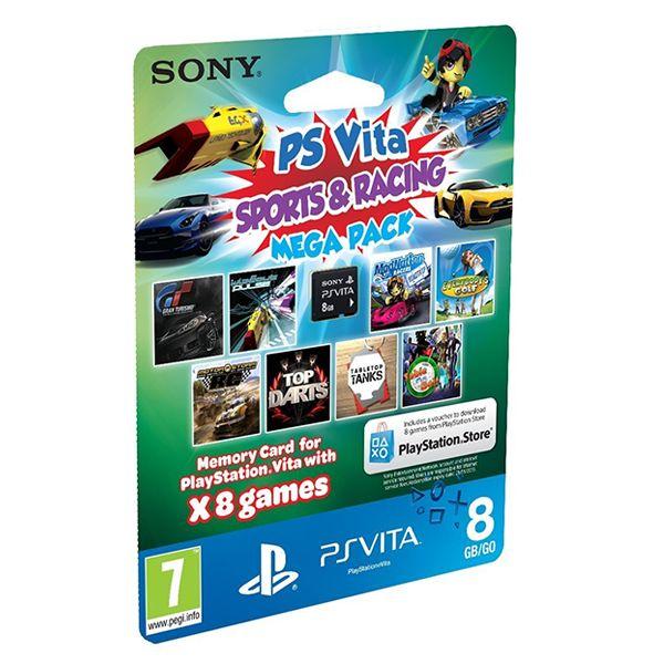 Sony Playstation Vita Memory Card 8GB + Sports & Racing Mega Pack