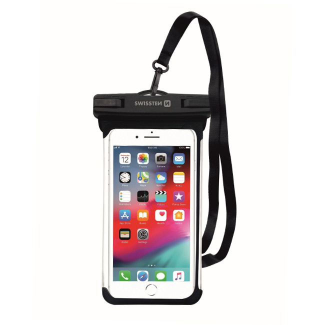 Swissten univerzálne vodeodolné puzdro pre smartfóny, IPX8, čierne 32900800