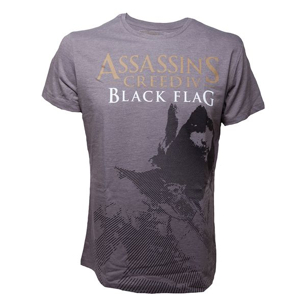 Trièko Assassin's Creed 4 Black Flag: Kenway Stencil Grey L
