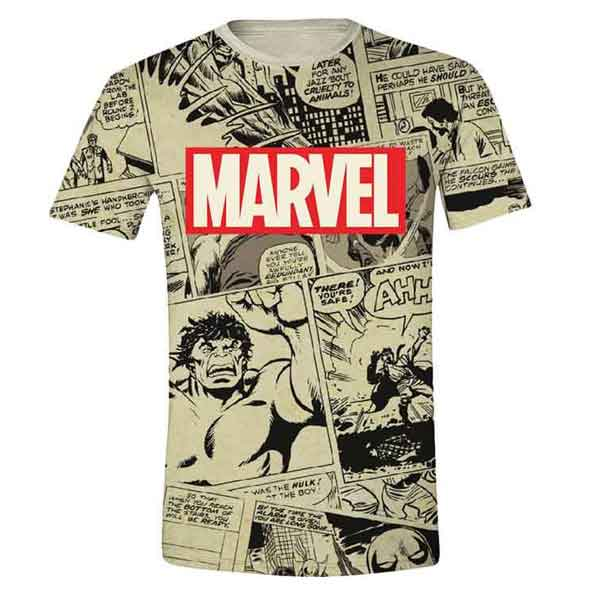Trièko Marvel Logo and Comic Panels L