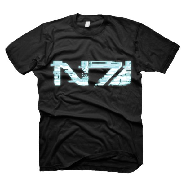 Tri�ko Mass Effect 3: Glitch N7 Logo, large