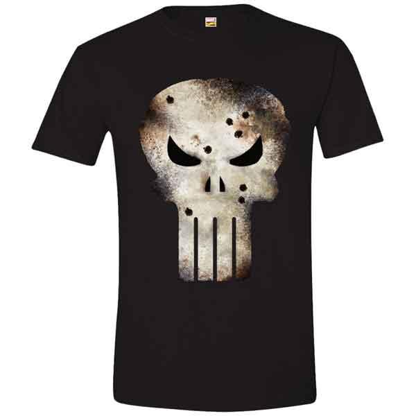 Trièko Punisher Damaged Skull M