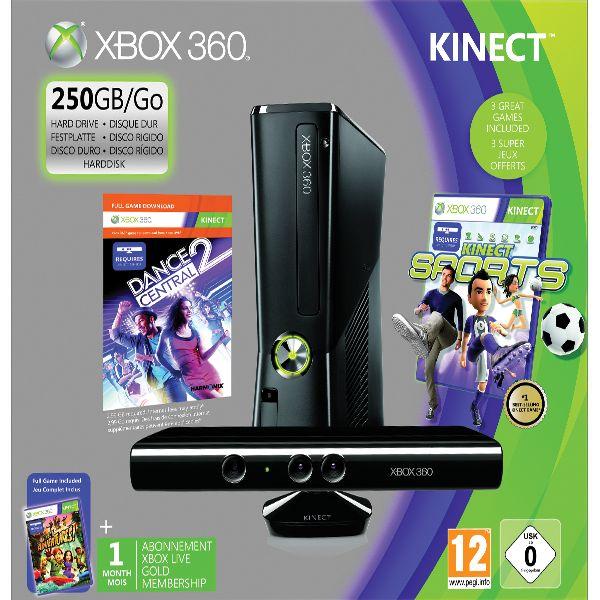 Xbox 360 Premium S + kinect 250GB - Použitý tovar, zmluvná záruka 12 mesiacov
