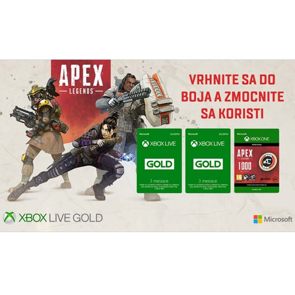 Xbox Live GOLD 3 mesaèné predplatné CD-Key 1+1+ Apex Legends Coins