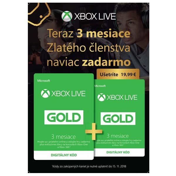 Xbox Live GOLD 3 mesaèné predplatné CD-Key 1+1