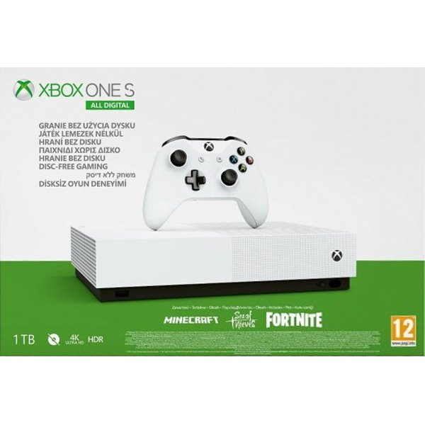 Xbox One S 1TB All-Digital + Fortnite + Minecraft + Sea of Thieves