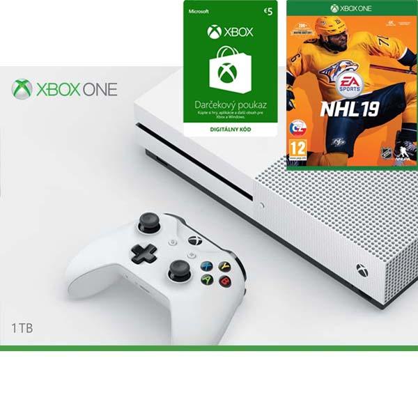 Xbox One S 1TB + NHL 19 + Xbox Store 5€ - elektronická peòaženka