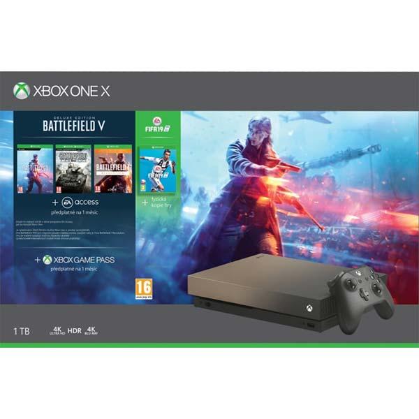 Xbox One X 1TB + Battlefield 5 (Deluxe Edition) + FIFA 19 + Battlefield 1: Revolution + Battlefield: 1943