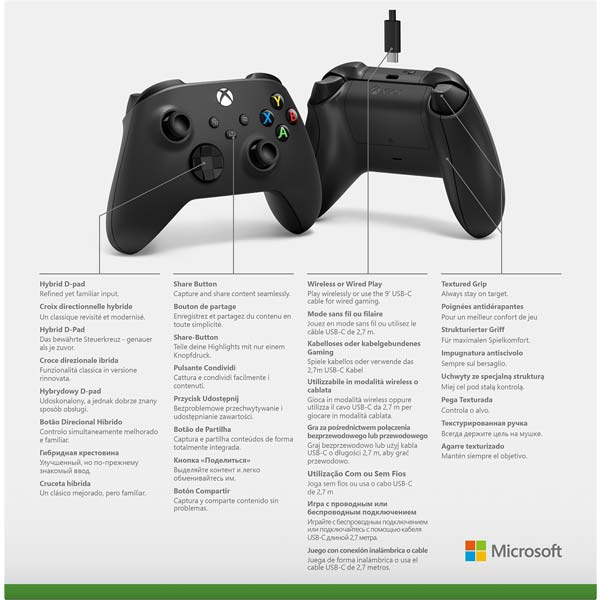 Microsoft Xbox Wired Controller, carbon black