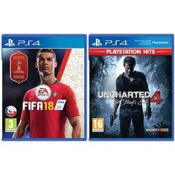 FIFA 18 CZ [PS4] + Uncharted 4: A Thief's End CZ [PS4] - BAZÁR (použitý tovar)  zmluvná záruka 12 mesiacov na progamingshop.sk