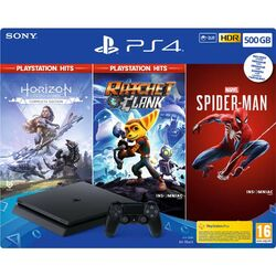 Sony PlayStation 4 Slim 500GB, jet black + Horizon: Zero Dawn (Complete Edition) + Ratchet & Clank + Spider-Man CZ na progamingshop.sk