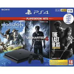 Sony PlayStation 4 Slim 1TB, jet black + The Last of Us CZ + Uncharted 4: A Thief's End CZ + Horizon: Zero Dawn na pgs.sk